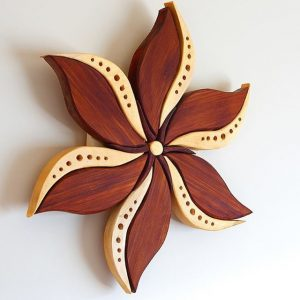 "Little Flower. Red and yellow cedar. 15""x15"" woodart #woodwork#woodworking #scrollsaw#intarsia #finewoodworking #craftsmen#wood #woodmagic #wallhanging #woodmandala #woodwhispering #art #handmade #handcrafted #psychedelic #plantmedicine #customwood #cumberlandbc #vancouverisland"